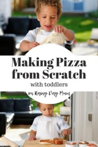 2 images of a toddler making pizza dough at home with text in between reading Making Pizza From Scratch with toddlers on rainy day mum