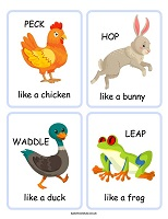 set of 4 move like a animal cards for preschoolers and eyfs printable movement card game