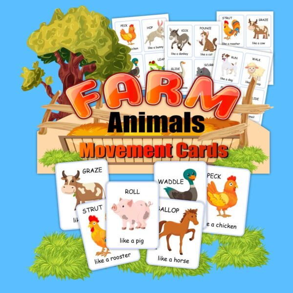 sale image for a the move like a farm animal printable gross motor card pack for preschoolers and kinder activities