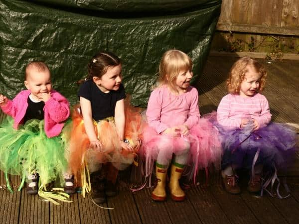 girls wearing handmade tutus