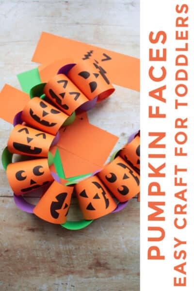 Pumpkin Paper Chain Faces easy Halloween Craft for Toddlers