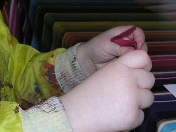 Toddler Finer Motor skill tissue paper scrunching