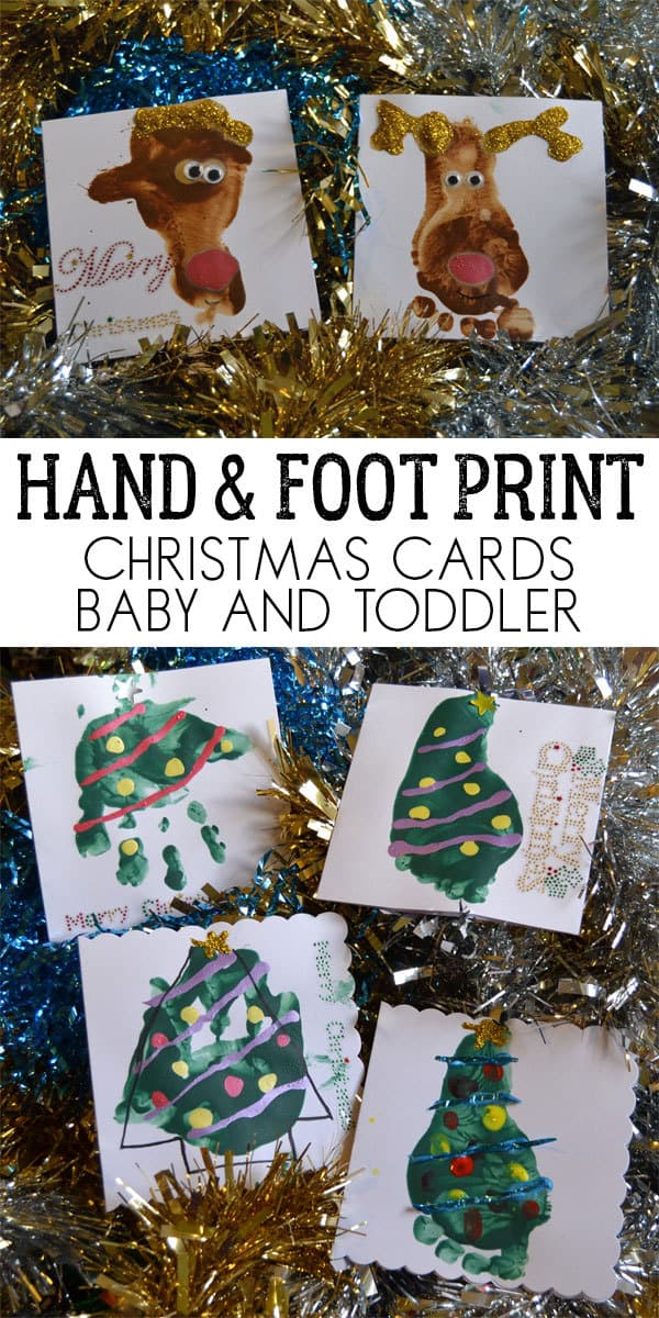 Hand and Foot Print Christmas Cards to send family and friends from your babies and toddlers this Christmas, easy to make and fun to do.