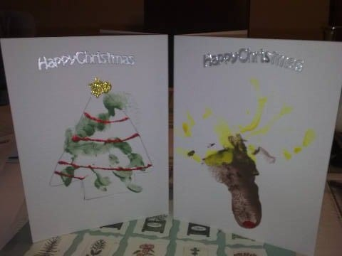 Baby craft – Reindeer and tree christmas cards