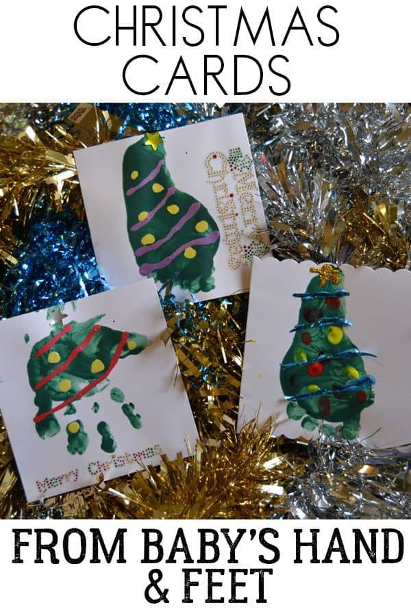 Christmas Cards from Baby's hand and footprints. Easy to make cards to send to family and friends to celebrate your babies first Christmas.