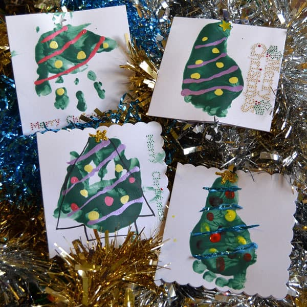 christmas tree hand print cards for babies and toddlers to make