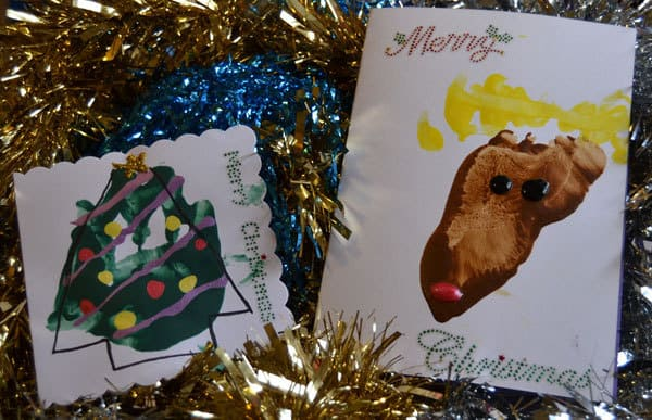 footprint christmas cards to make with your baby