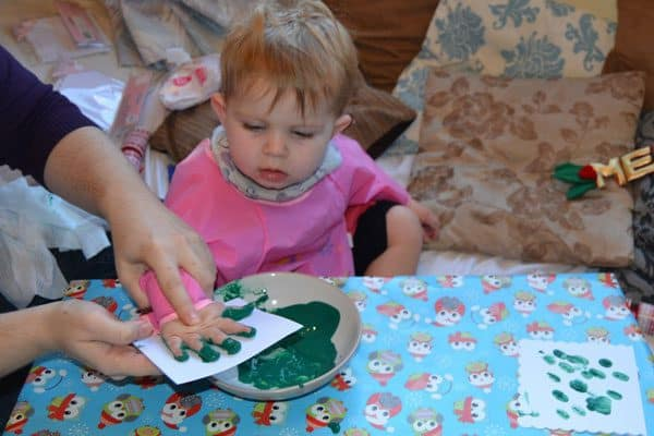 making toddler hand and footprint christmas cards
