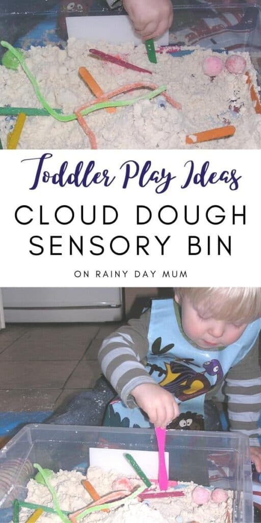 cloud dough sensory bin and fun toddler play idea
