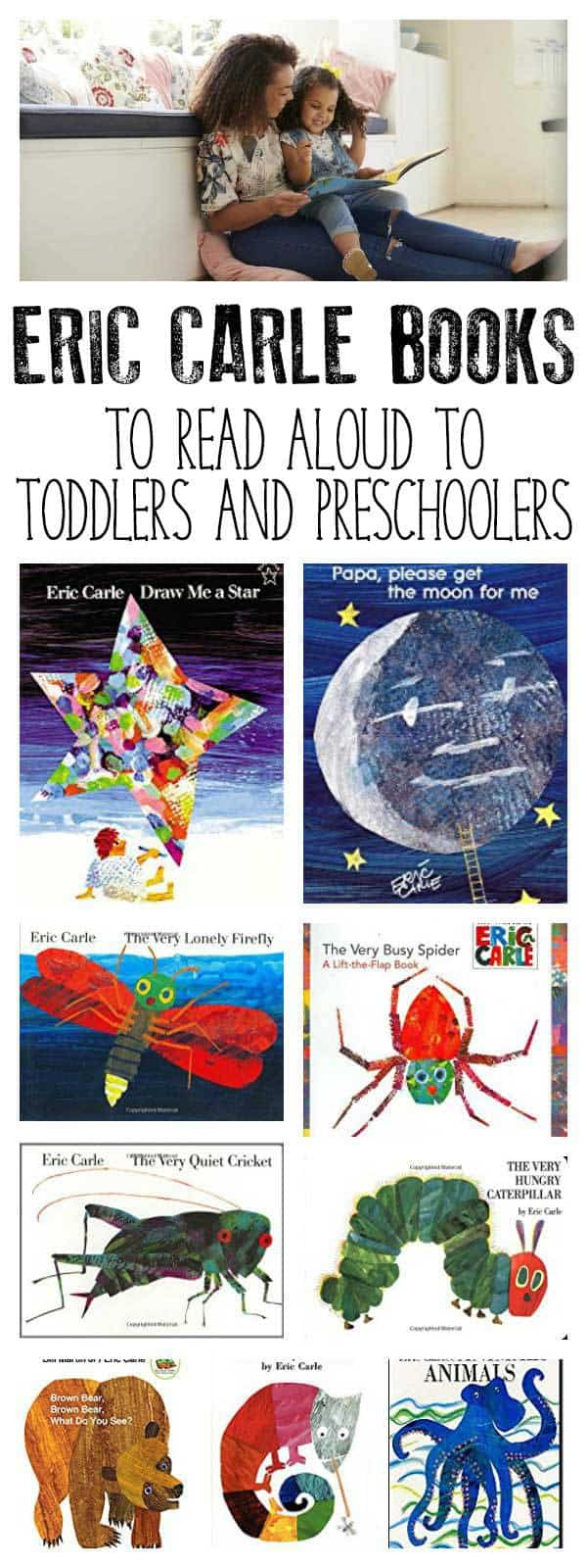 Recommendations for read-aloud books from Eric Carle for Toddlers and Preschoolers. Organised by themes and topics this list features favourite Eric Carle books and those illustrated by Eric Carle ideal to read together.