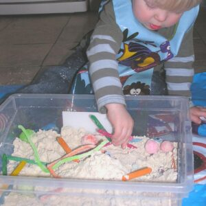 easy homemade cloud dough recipe for sensory tubs