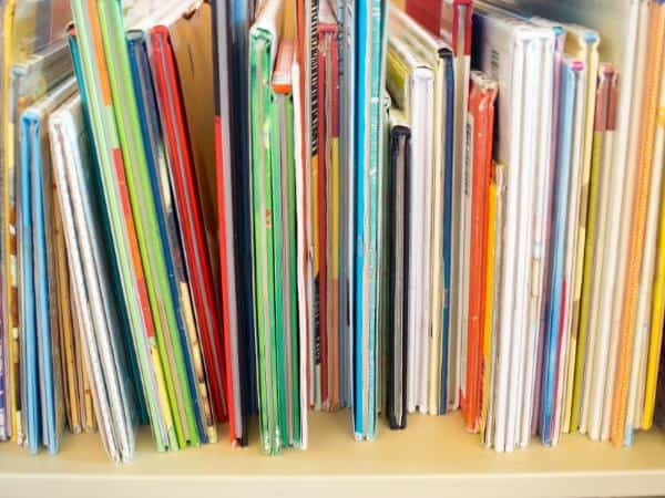 toddler books on the shelf at the library