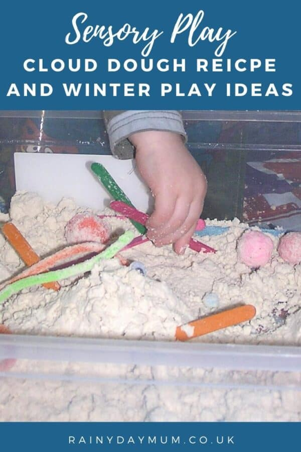 Sensory play homemade cloud dough recipe and winter sensory bin idea