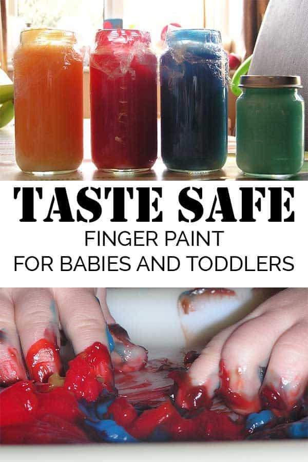 Taste Safe finger paints in baby food jars to make and use with babies and toddlers for their first art experiences.