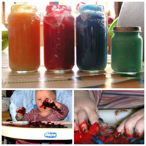 Simple Recipe for Taste Safe finger paints ideal for a sensory painting experience with babies and toddlers