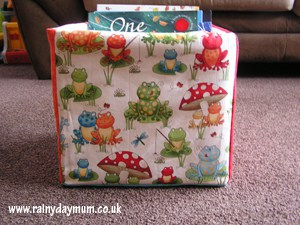 Fabric storage box made from fat quarters and a diaper box