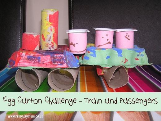 Tinkerlab egg carton challenge toddler train and passengers