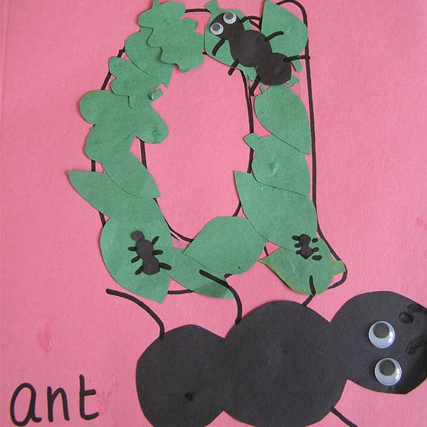 a is for ant alphabet craft for toddlers, simple to make and help them to start to recognise letter forms and letter sounds