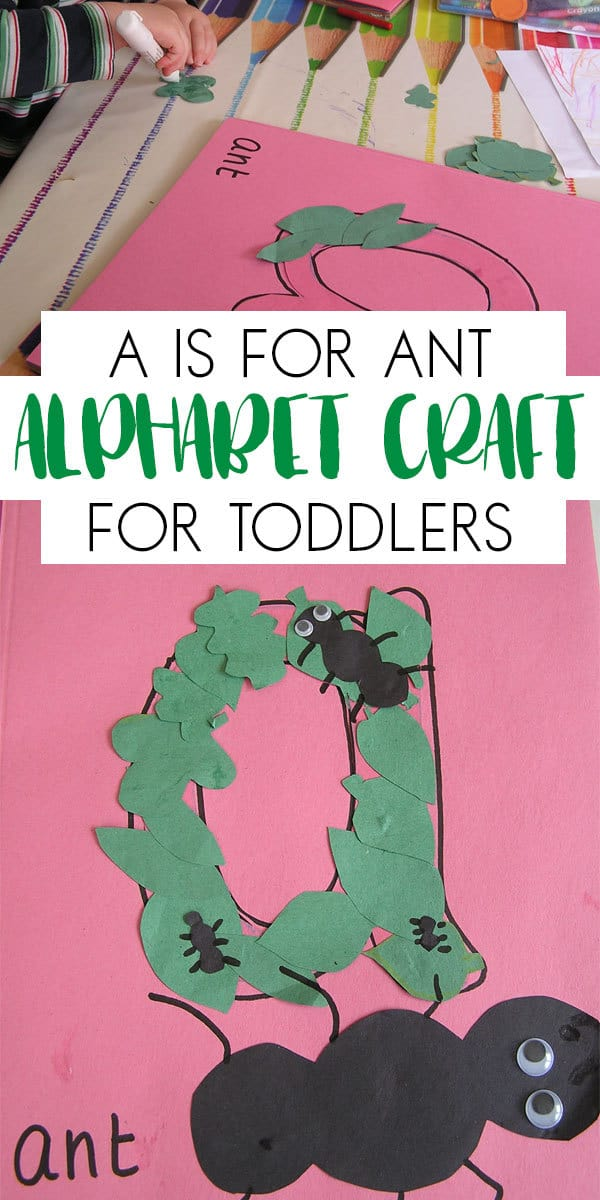 Simple, easy and fun letter crafts for toddlers based on animals for each letter of the alphabet starting with a is for ant.
