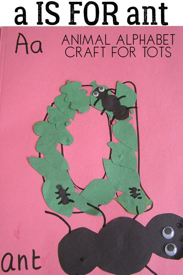 A is for ant simple animal themed alphabet craft for toddlers to help with letters recognition and sounds.