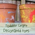 Toddler craft for the garden - decorated pots