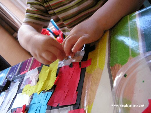creating a mondrian inspired toddler art work