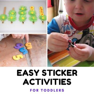 Easy Sticker Activities collage with number sticks, counting and number recognition and peeling stickers for fine motor skills