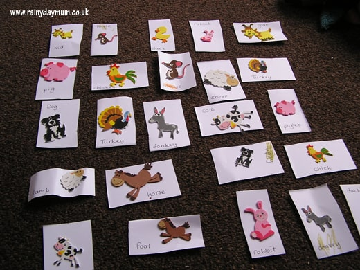 Matching mummy and baby animal card game