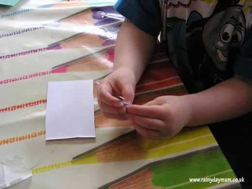 peeling sticker backs helps fine motor development