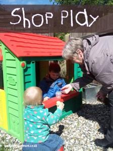 Pretend Shop play taken outside