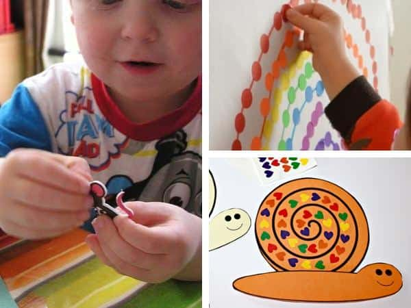 collage of 3 sticker craft for toddlers, animal picture, snail with coloured dots and coloured dot rainbow