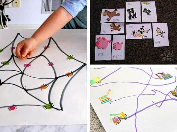 games to make using stickers, matching the coloured dots to spiders, a whose my mother games with foam stickers and a prewriting tracing activity for toddlers