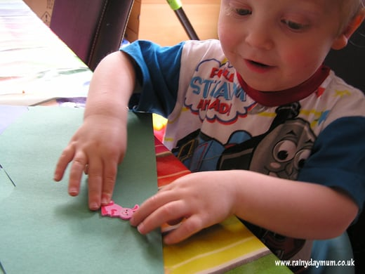 Toddler fine motor skills with stickers