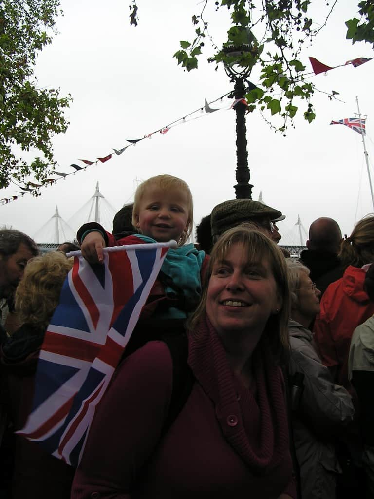 Baby waving British Flag
