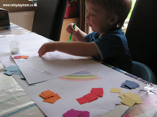 torn paper rainbow to make with toddlers and preschoolers