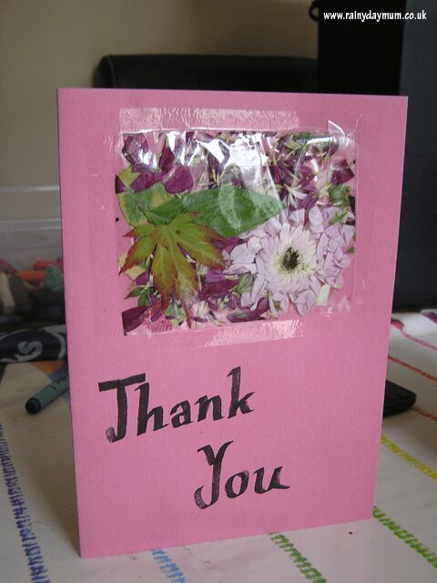 real flower thank you card