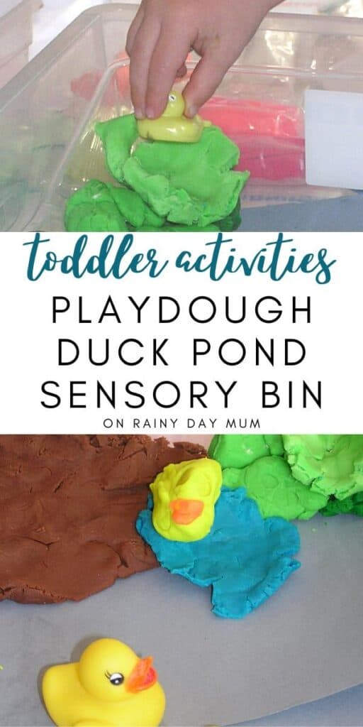 playdough duck pond sensory bin