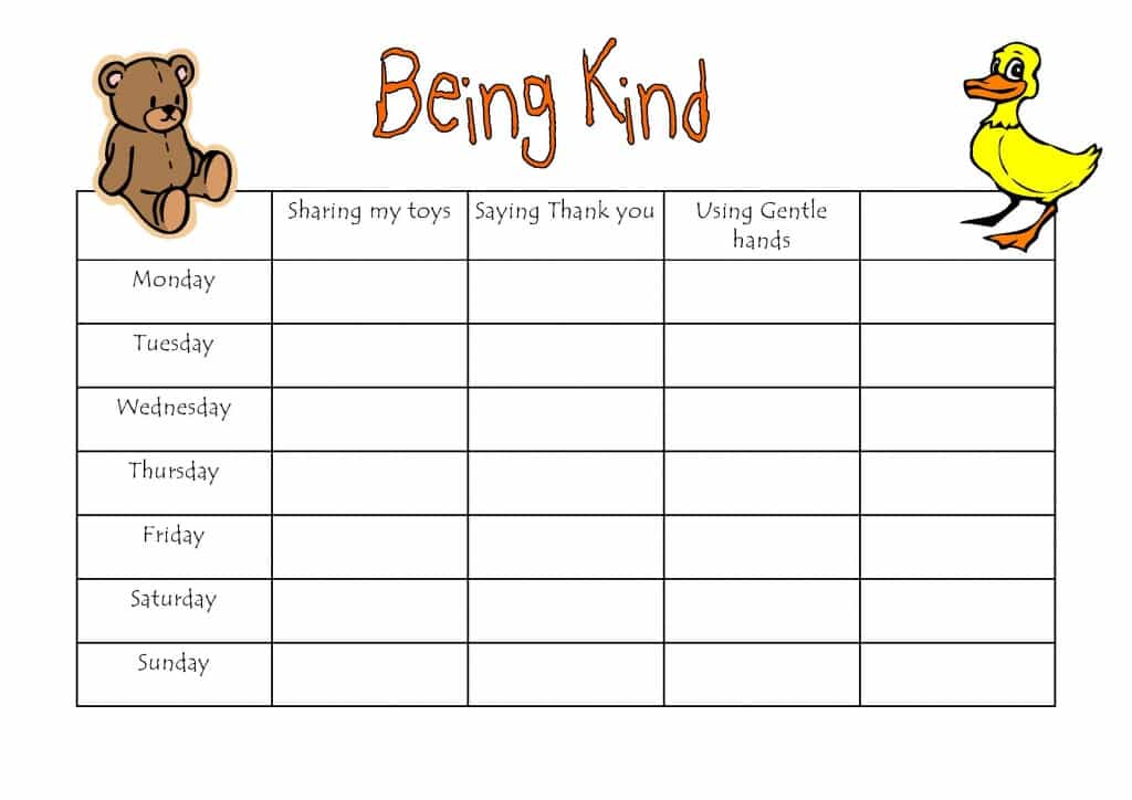 Being kind reward chart