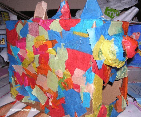 cardboard box dinosaur model