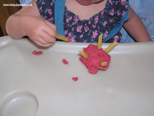 fine motor skills with playdough and pasta