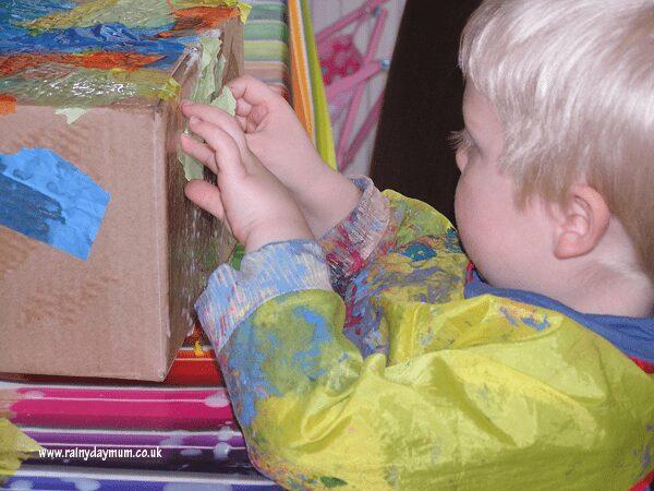Making a cardboard box dinosaur