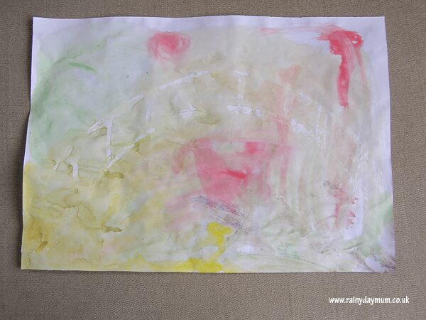 Monet Inspired wax resist painting for preschoolers