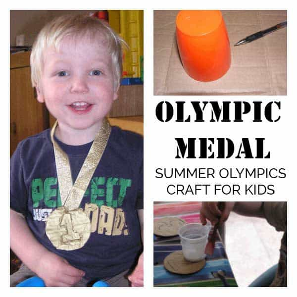 Create your own medals for the Summer Olympics with this simple DIY that even toddlers can do with you