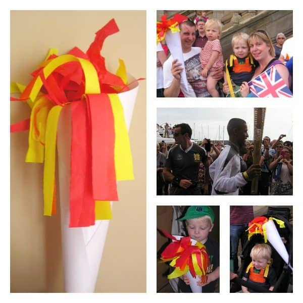 Olympic Torch Craft for Toddlers and older kids to make perfect to hold your own opening ceremony in a Toddler Olympics this year