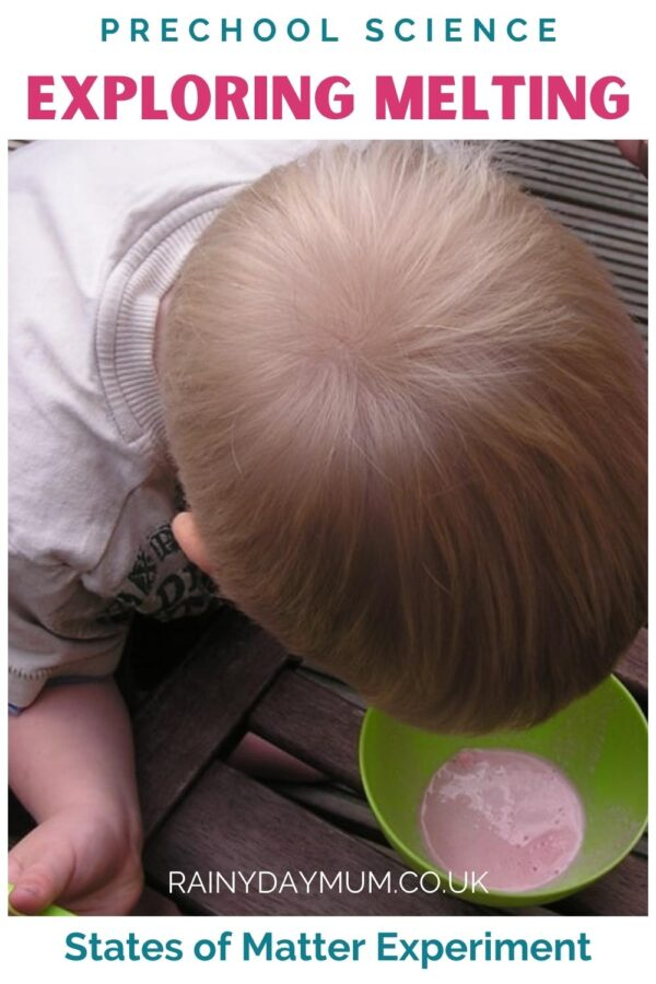 Pinnable image for preschool science exploring melting with ice cream
