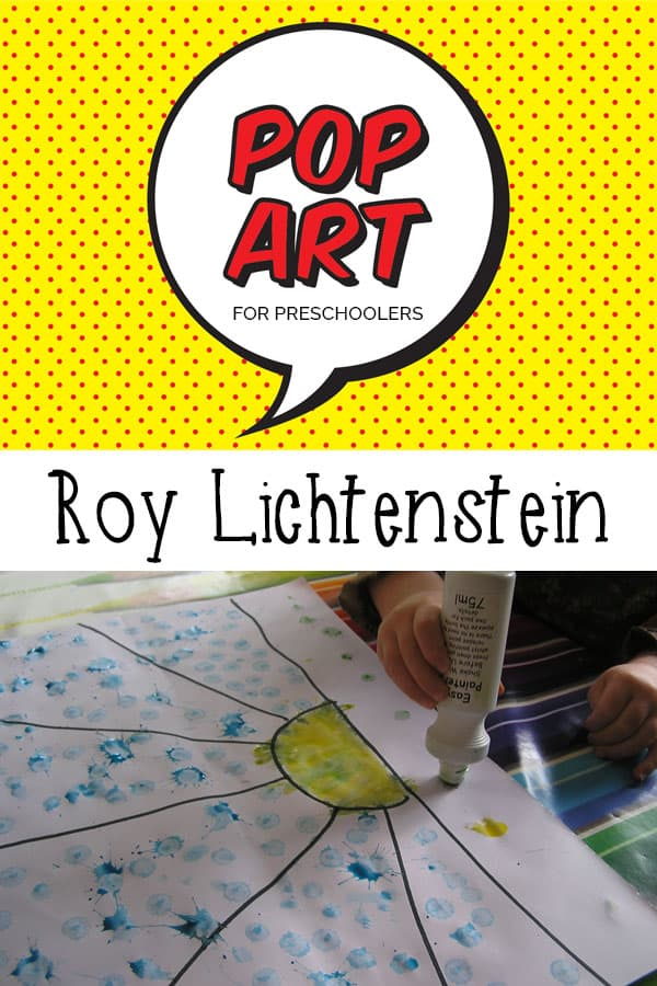 Simple Pop Art Art activity for preschoolers and Kindergarten aged children inspired by the modern paintings by Roy Lichtenstein.