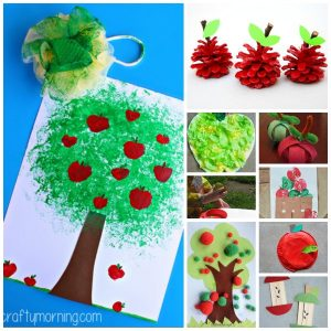 collage of various apple crafts for toddlers and preschoolers to make