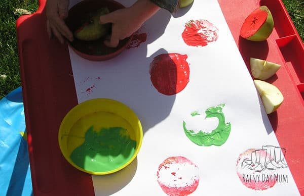 toddler made apple prints
