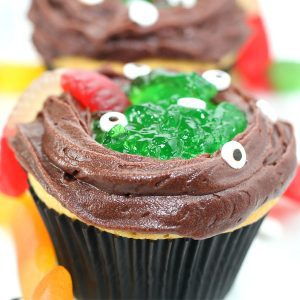 witches cauldron cupcakes with lime jello perfect for halloween treats to bake with kids