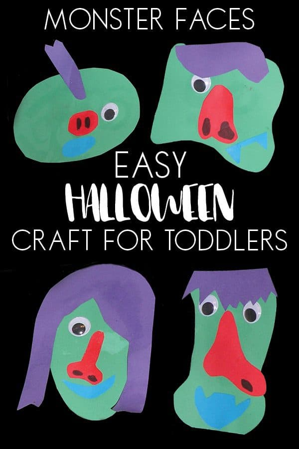 Simple Halloween Craft for Toddlers to make not too scary monster faces. Quick and easy low mess and fun